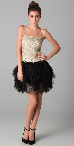 lace tulle skirt dress-alice olivia claire lace combo dress.