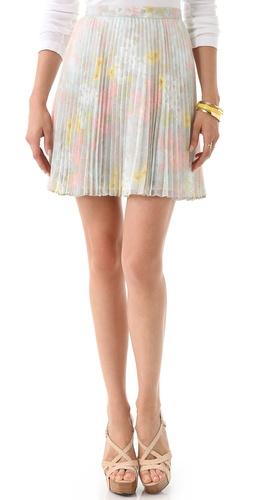 Floral Pleated Skirt: Pastel florals bloom on this accordion-pleated...