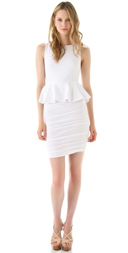 Store. alice + olivia Peplum Tank Dress with Ruched Skirt.  Shopbop.com.