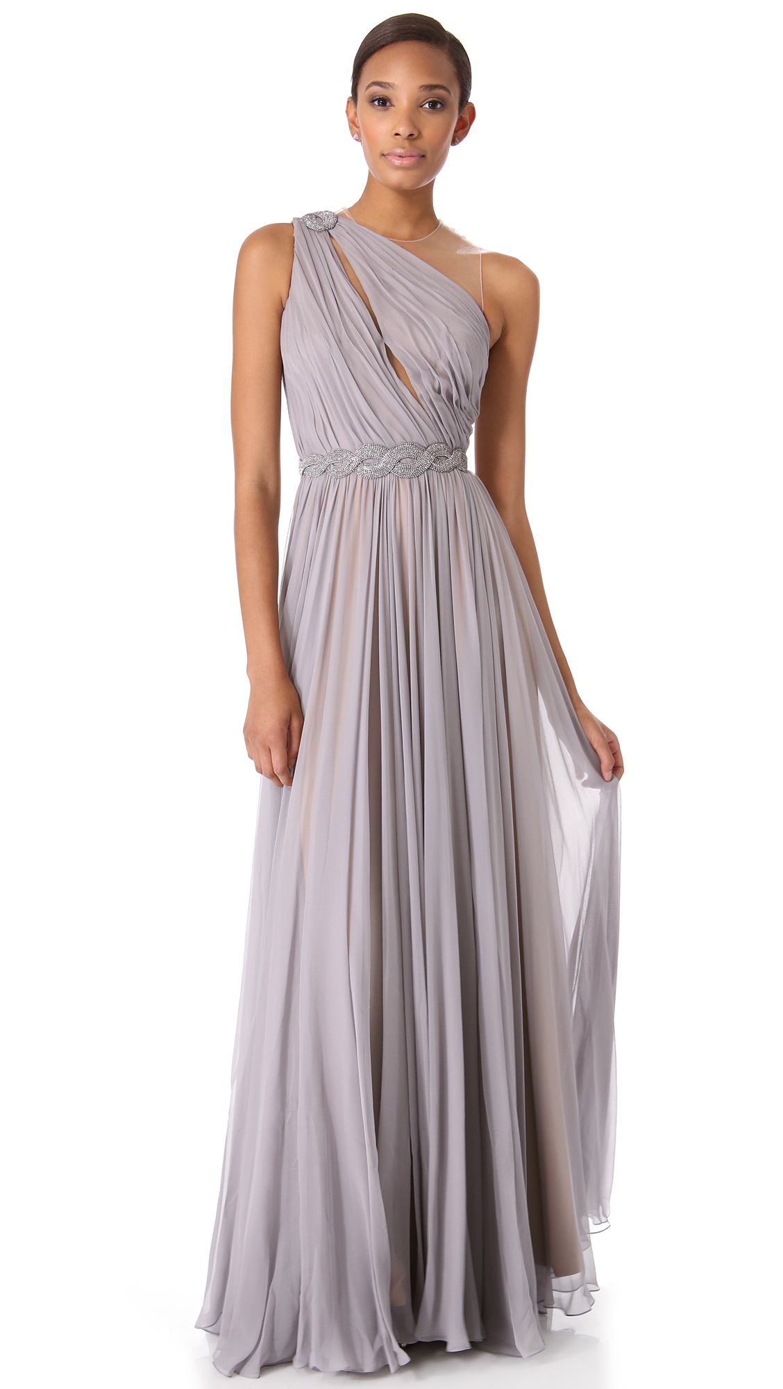 d65599bae4d3 Reem Acra One Shoulder Draped Gown on PopScreen