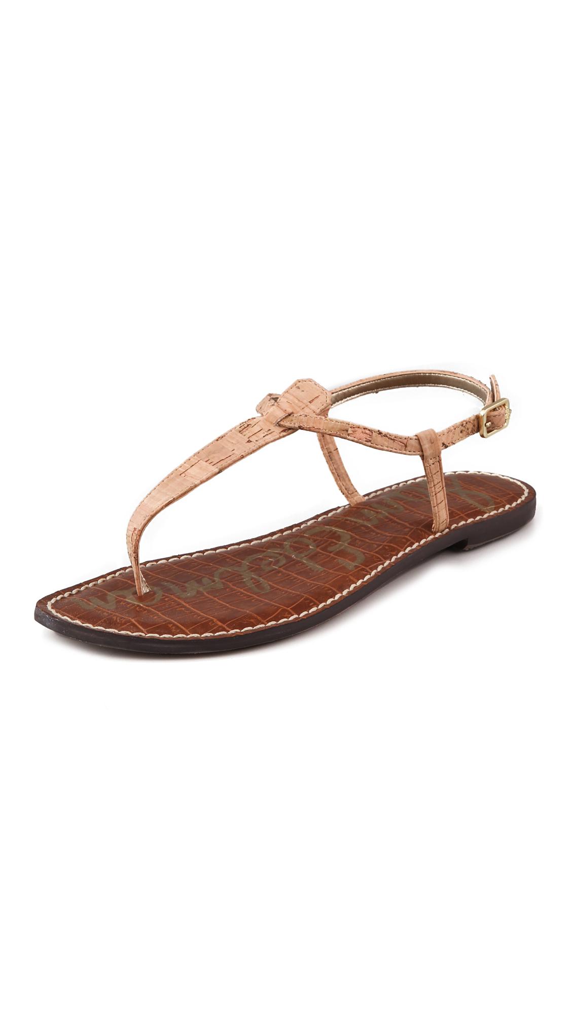 5e2da025cc2607 Sam Edelman Gigi Cork T Strap Flat Sandals on PopScreen