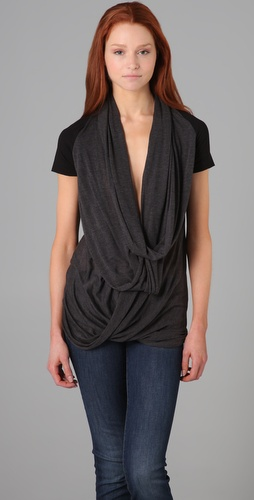 Three Dots Draped Front Tee