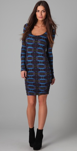 Torn by Ronny Kobo Zoe Aztec Print Ruched Dress