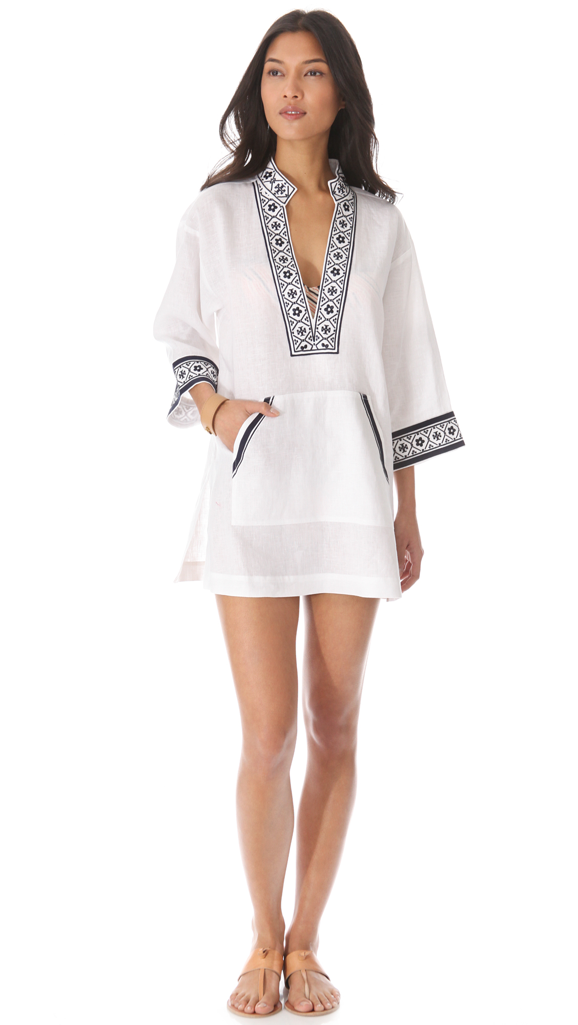 e74ab0069fc0 Tory Burch Tory Linen Tunic Cover Up on PopScreen