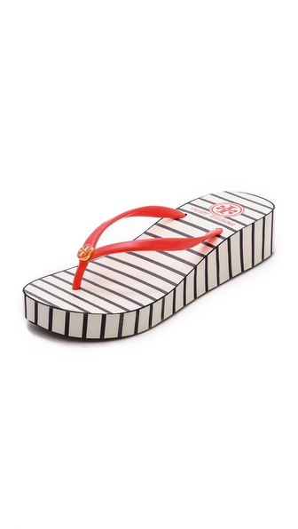 54db7f1d4d3615 Tory Burch Thandie Wedge Flip Flops - Tory Navy Stripe Poppy Red