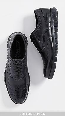 콜한 제로그랜드 윙팁 옥스포드 신발 Cole Haan Zerogrand Wingtip Oxford Shoes,Black/Black