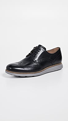 콜한 오리지널 그랜드 옥스포드 신발 Cole Haan Original Grand Short Wingtip Oxfords,Black/Ironstone