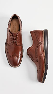 콜한 오리지널 윙팁 옥스포드 신발 Cole Haan Original Grand Short Wingtip Oxfords,Woodbury/Java