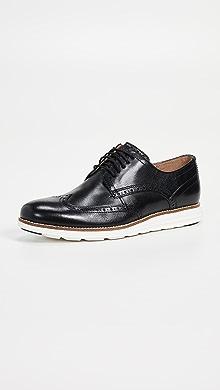 콜한 오리지널 그랜드 옥스포드 신발 Cole Haan Original Grand Short Wingtip Oxford Shoes,Black/White