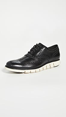 콜한 옥스포드 슈즈 Cole Haan Zerogrand Wingtip Oxford Shoes,Black Closed Holes/White