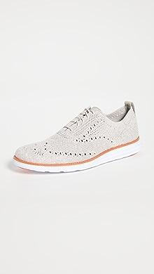 콜한 옥스포드 슈즈 Cole Haan Original Grand Wingtip Oxford Shoes,Dove/Optic White Knit/Optic Wh