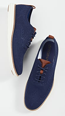 콜한 옥스포드 슈즈 Cole Haan Original Grand Stitchlite Wingtip Oxford Shoes,Navy/Ivory