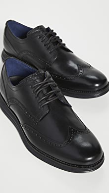 콜한 옥스포드 슈즈  Cole Haan Original Grand Wingtip Oxford Shoes,Black/Black