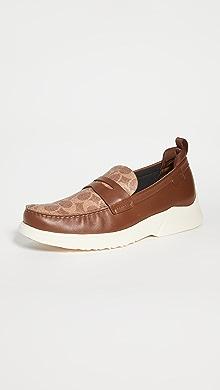 코치 뉴욕 로퍼 COACH New York Signature Hybrid Loafers,Khaki/Saddle