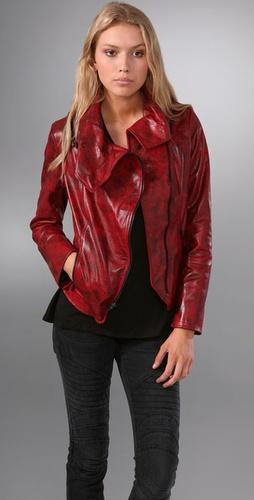 Alice + Olivia Gusset Leather Jacket