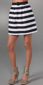Striped High Waist Skirt with Belt.