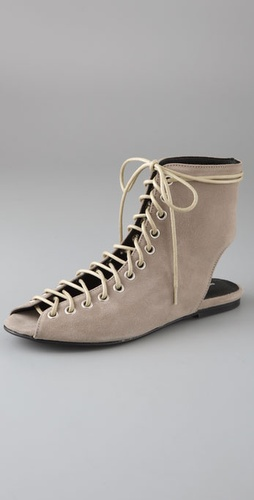 American Retro Athena Lace Up Suede Booties