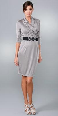Catherine Malandrino Belted Dress with Draped Neckline