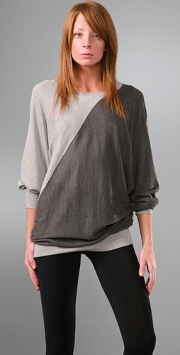 DKNY Diagonal Colorblock Dolman Sweater