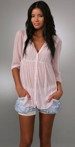 Free People Silky Rib Blouse