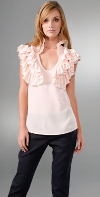 geren ford silk ruffle blouse with cap sleeves
