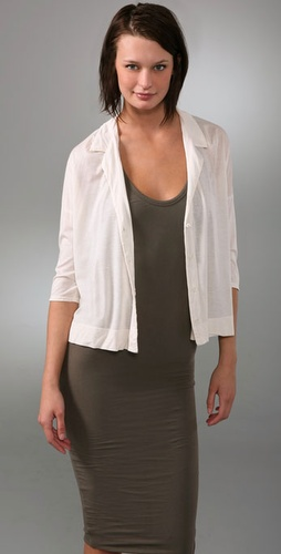 James Perse Button Front Boxy Shirt with Short Sleeves