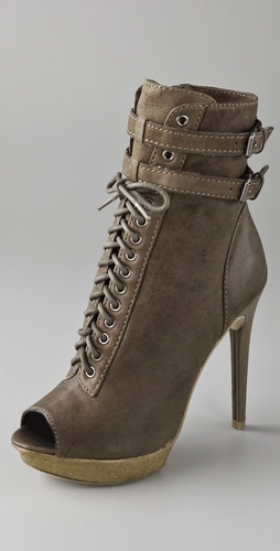 Pelle Moda Open Toe Lace Up Booties