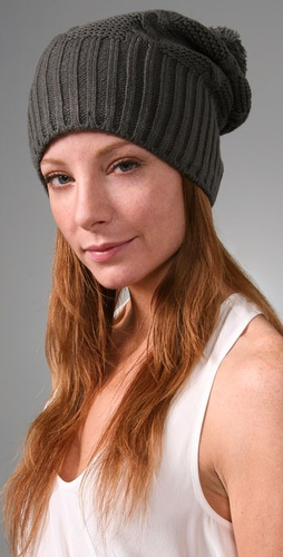 Cable Knit Pom Pom Hat with Fleece Lining 4d9c5b73973