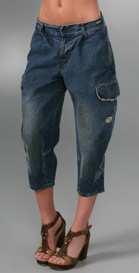 Prps Wide Leg Cropped Cargo Jeans