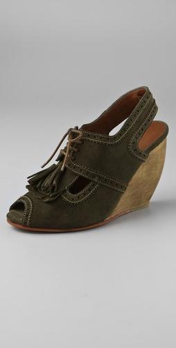 Rachel Comey Ipswich Suede Kiltie Wedge Heels