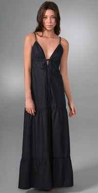 7 For All Mankind Tiered Tie Front Maxi Dress
