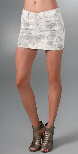 7 For All Mankind Tie Dye Denim Miniskirt