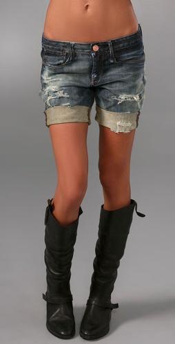 Shopbop Custom Denim Boyfriend Shorts with Bleach Spots