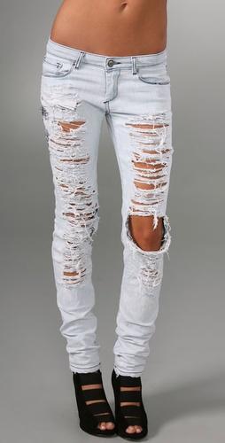 Shopbop Custom Denim Super Shred Skinny Jeans with Stitching & Bleach Spots