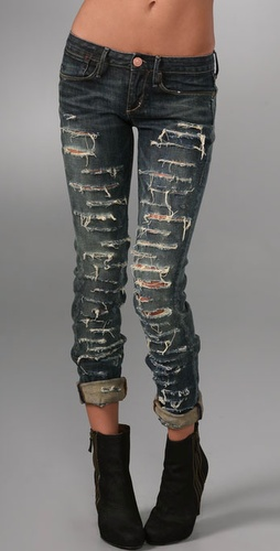 Shopbop Custom Denim Shred Skinny Jeans with Bleach Spots