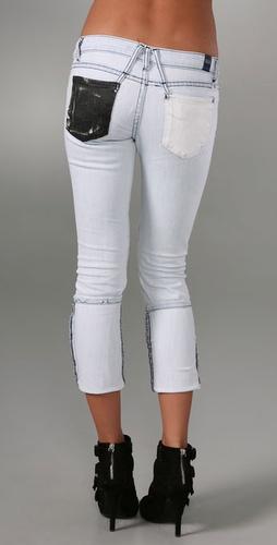 Shopbop Custom Denim Skinny Jeans with Black & White Pockets