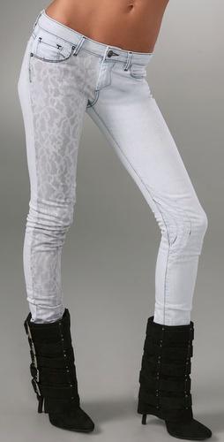 Shopbop Custom Denim Skinny Jeans with Grey Lace