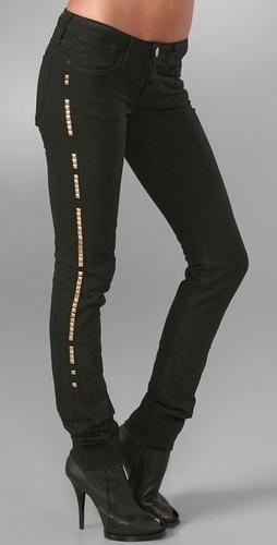 Shopbop Custom Denim Skinny Jeans with Studs