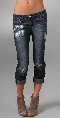 Shopbop Custom Denim Dark Skinny Jeans with Patches