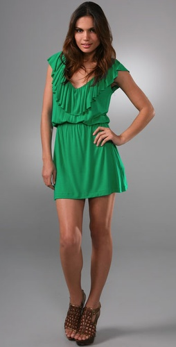 T-Bags Ruffle V Neck Dress