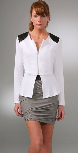 Torn by Ronny Kobo Kim Zipper Peplum Jacket with Leather Patch
