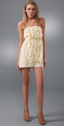 Twelfth St. by Cynthia Vincent Strapless Ruffle Front Dress