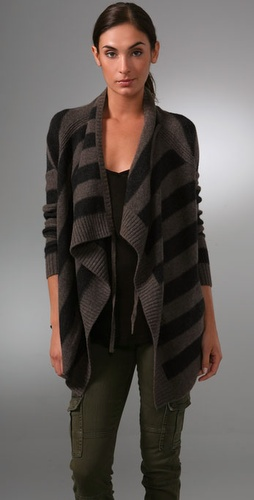 Vince Striped Drape Cardigan Sweater
