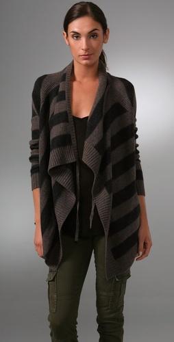 Vince Striped Drape Cardigan Sweater