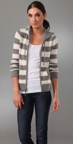 Vince Rugby Stripe Cashmere Hoodie
