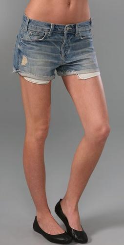 Vince Denim Faded Dirty Boyfriend Shorts