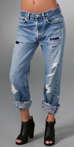 WGACA Vintage Boyfriend Jeans with Flannel Patches