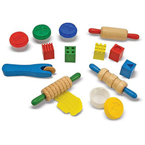 Includes five easy-grips, wooden stamping cubes, three rolling pins, four modeling dough tubs with molding lids, and a patterned wheel press.