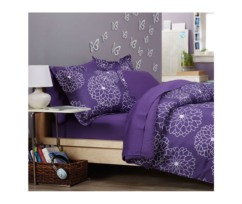 purple floral bed in a bag twin twin xl comforter blanket sheet bedding bedroom. Black Bedroom Furniture Sets. Home Design Ideas