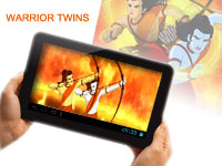 Shows screenshot of animated movie, Warrior Twins.
